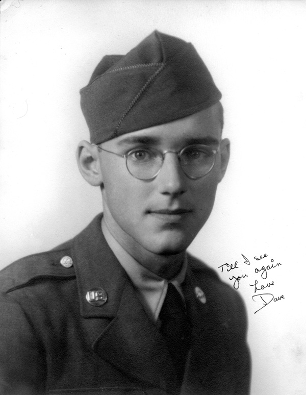 Photo of Private David O. Meeker Jr in his WW-II U.S. Army uniform, taken in Gadsden AL while he was stationed at Camp Siebert AL between February and late April 1943