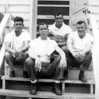 Edward Crawford and 3 unidentified comrades, 14th Chemical Maintenance Company, believed taken at Fort Rucker, Alabama