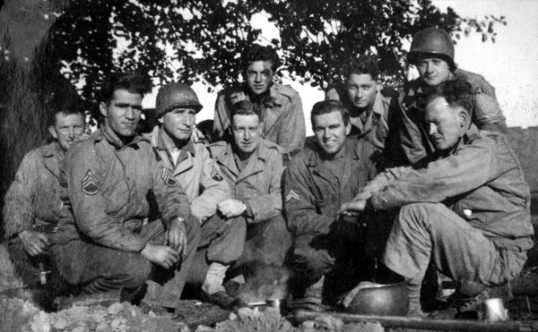 Photo of 14th Chemical Maintenance Company soldiers in their WW-II U.S. Army uniforms, taken mid-September 1944 near La Capelle, France