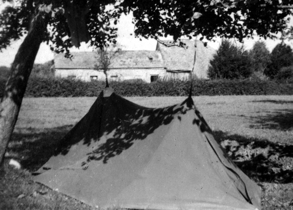 Photo of 2 man US Army tent used by 14th Chemical Maintenance Company, taken 05-22 Septembber 1944, near La Capelle, France