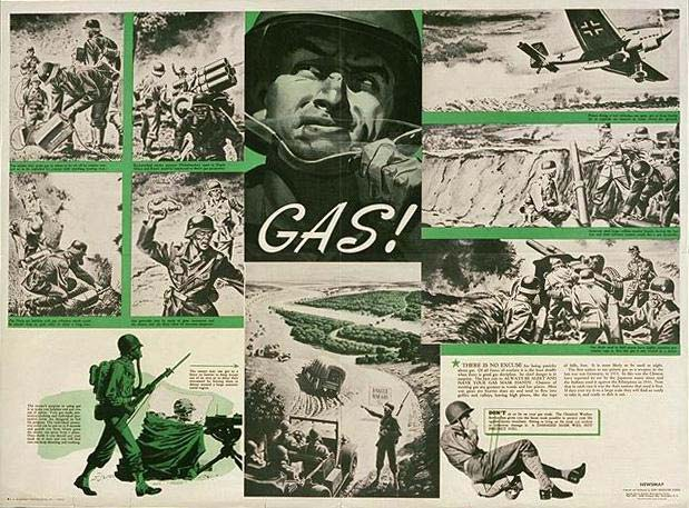 Poster collection image ww1646-20.jpg shows cartoon-like image shows an American soldier responding to gas attack